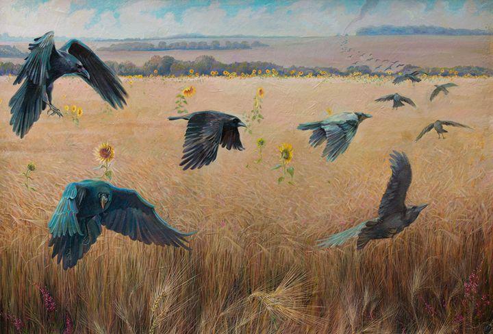 Wheatfield with crows - Sergey Lesnikov art