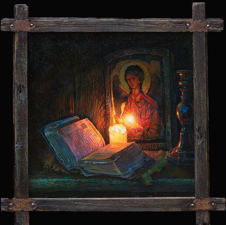 Still life with a candle. - Sergey Lesnikov art
