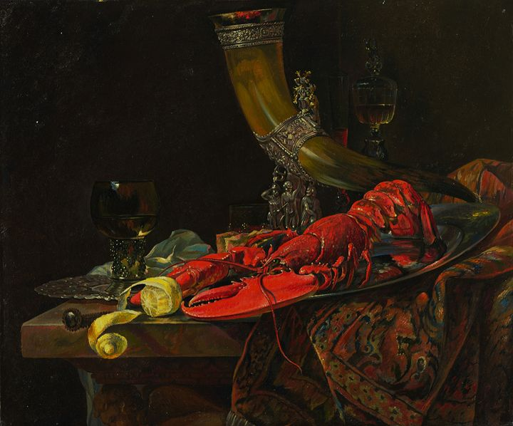 Still Life with Drinking Horn - Sergey Lesnikov art