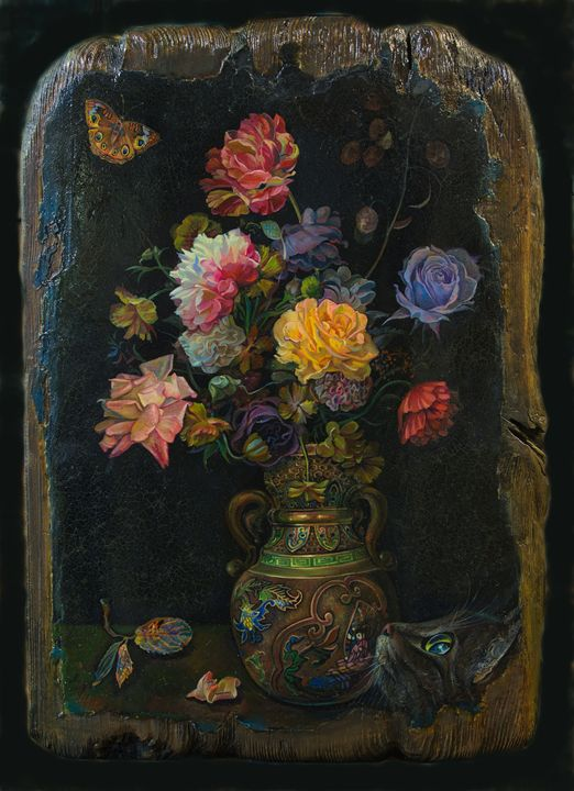 Flowers on a black background - Sergey Lesnikov art