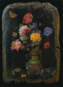 Flowers on a black background - Sergey Lesnikov art
