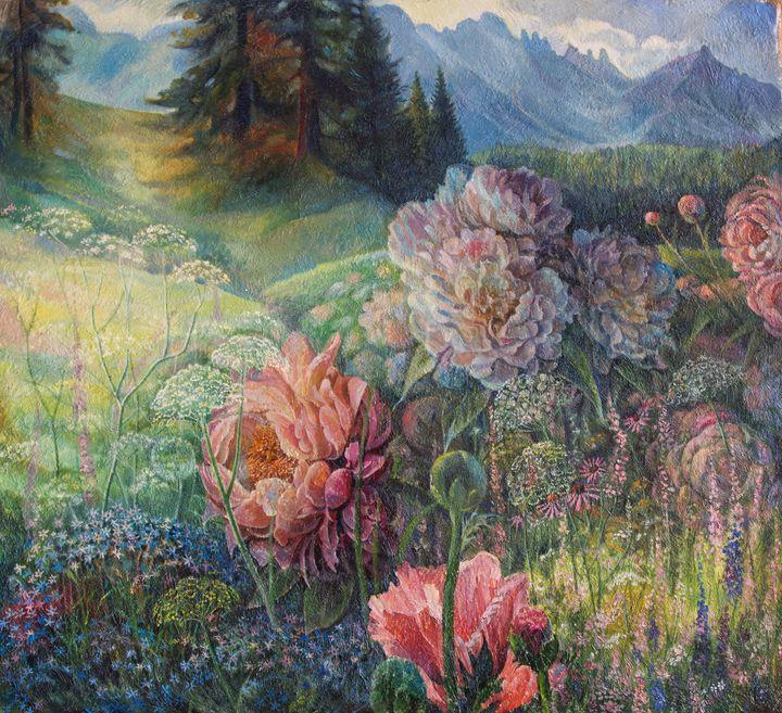 Wild peonies - Sergey Lesnikov art
