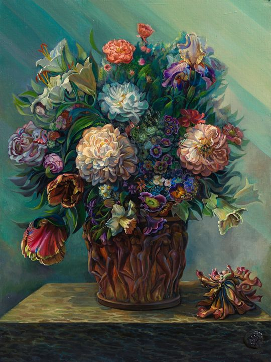 Flowers in a vase. - Sergey Lesnikov art
