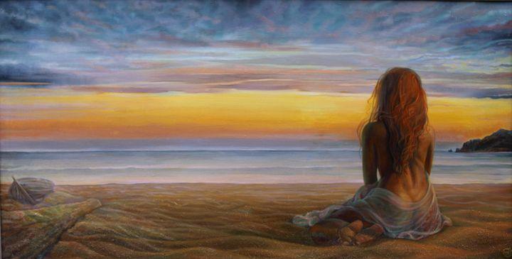 On the seashore - Sergey Lesnikov art