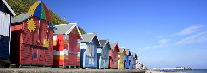 Colourful wooden beachuts - Dave Porter Landscape Photography