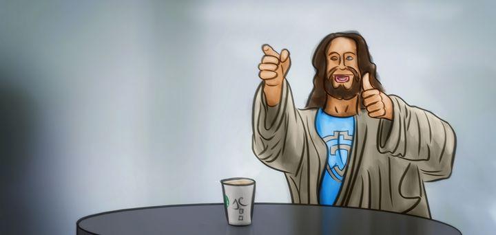 Jesus at the Starbucks - Artworks by Matthias Zegveld