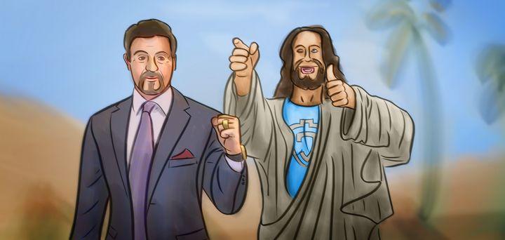 Jesus With Stallone - Artworks by Matthias Zegveld