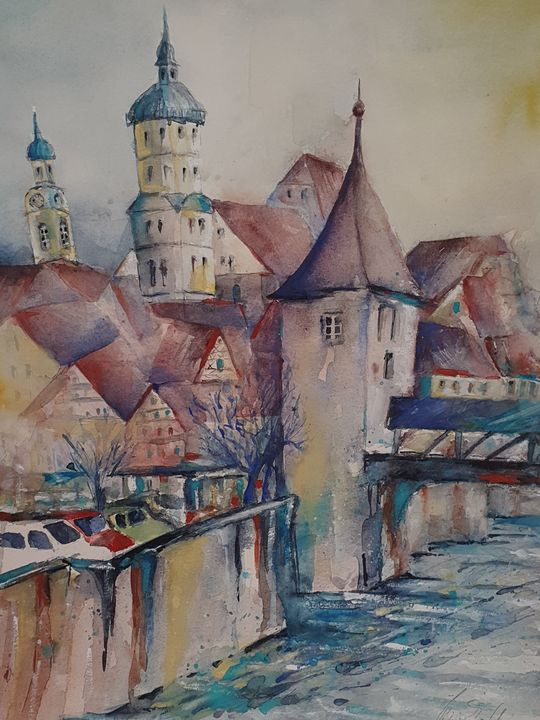 old village with church - happy art