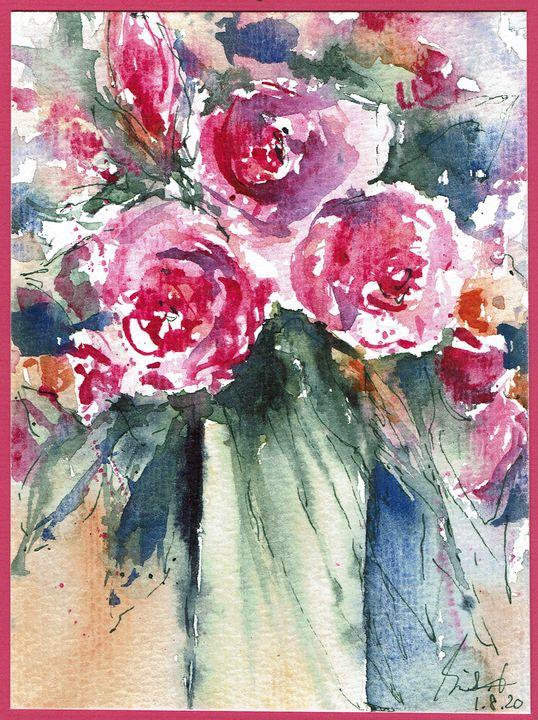 pink flower blossum - happy art