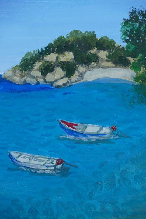 boats in a lake - happy art