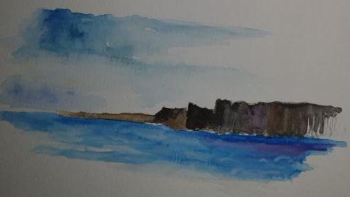ruin in the deep blue sea - happy art