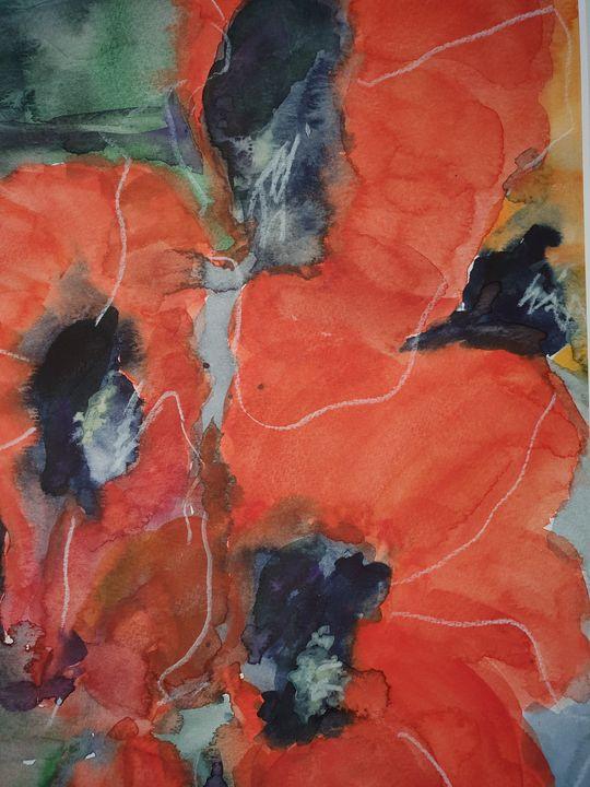 poppy flower in red - happy art