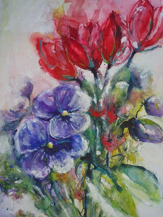 pantsy and tulip - happy art