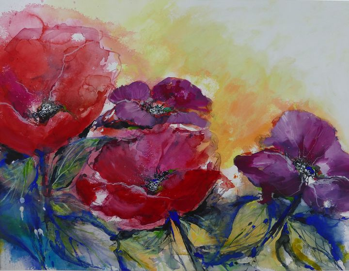 poppy in red and violet - happy art