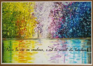 Paysage coloré avec mantra