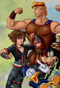 Sora, Donald, Goofy and Hercules