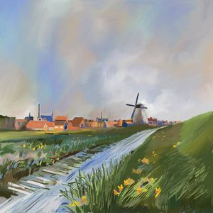 Dutch Windmill and Spring Sky - Michael Anthony Milton Gallery