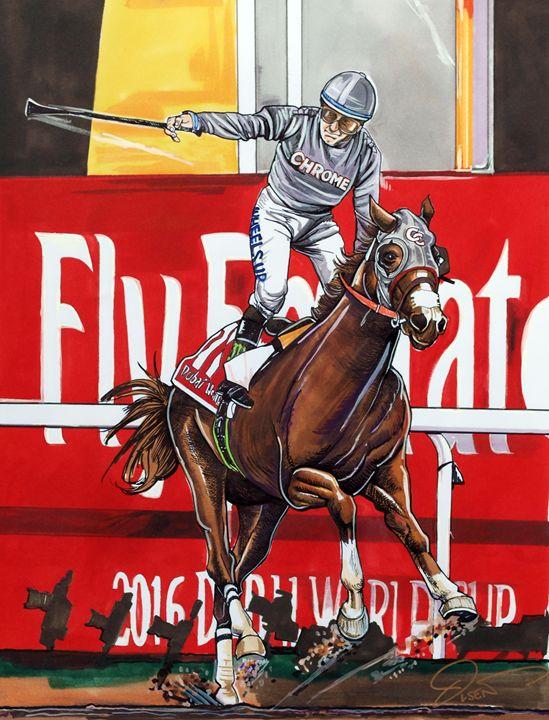 California Chrome in Dubai World Cup - Dave Olsen Art