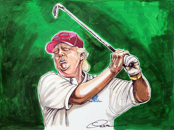 Donald Trump Tees Off - Dave Olsen Art