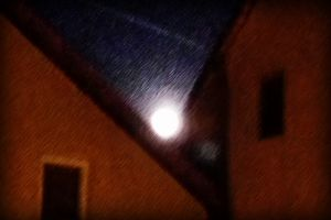 Supermoon over houses