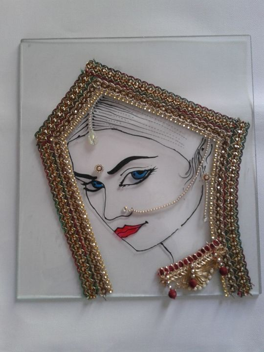 Glass Painting with decoration - Kirti's Art