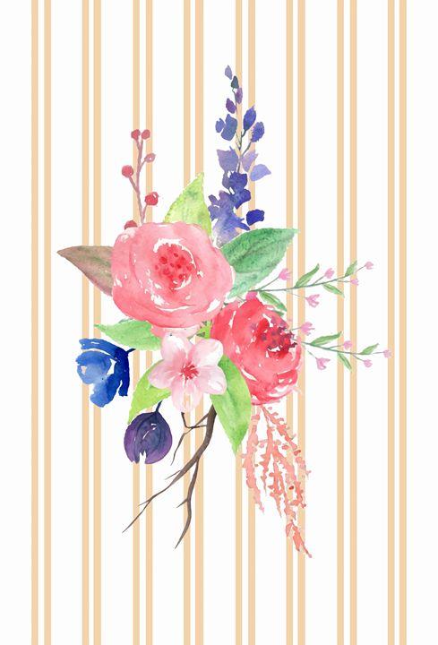 Pink, Blue & Purple Flowers - Blushing Meadow
