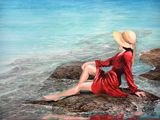The Lady  in  Red,  Orginal   Oils