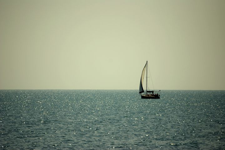 The lonely sail is growing white - P.Shu