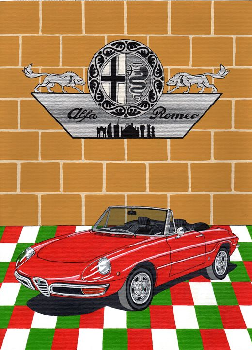 Alfa Romeo Duetto - Paul's Automobile Art ( Paul Cockram )