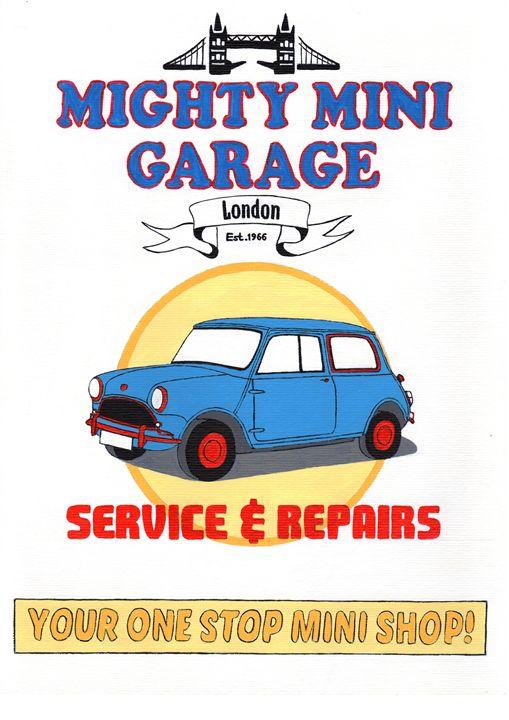 Mini Retro Garage Poster - Paul's Automobile Art ( Paul Cockram )