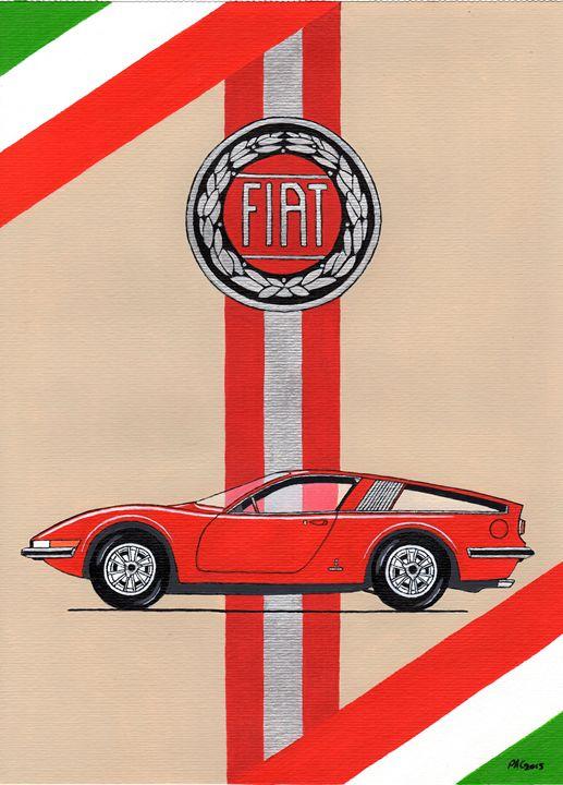Fiat Dino Ginevra - Paul's Automobile Art ( Paul Cockram )