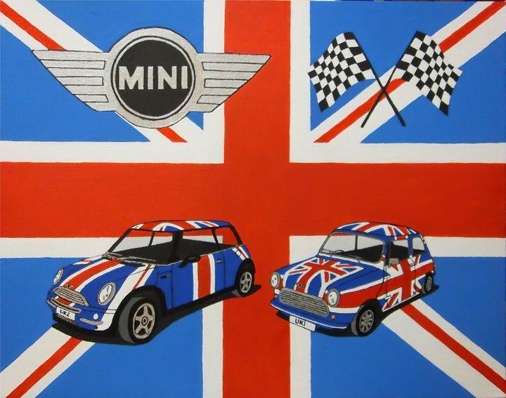 Mini Classic & New Union Jack - Paul's Automobile Art ( Paul Cockram )