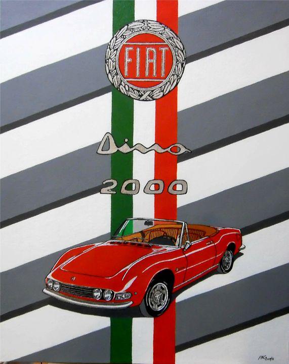 FIAT DINO 2000 SPIDER - Paul's Automobile Art ( Paul Cockram )