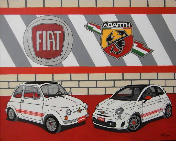Fiat Abarth's - Paul's Automobile Art ( Paul Cockram )