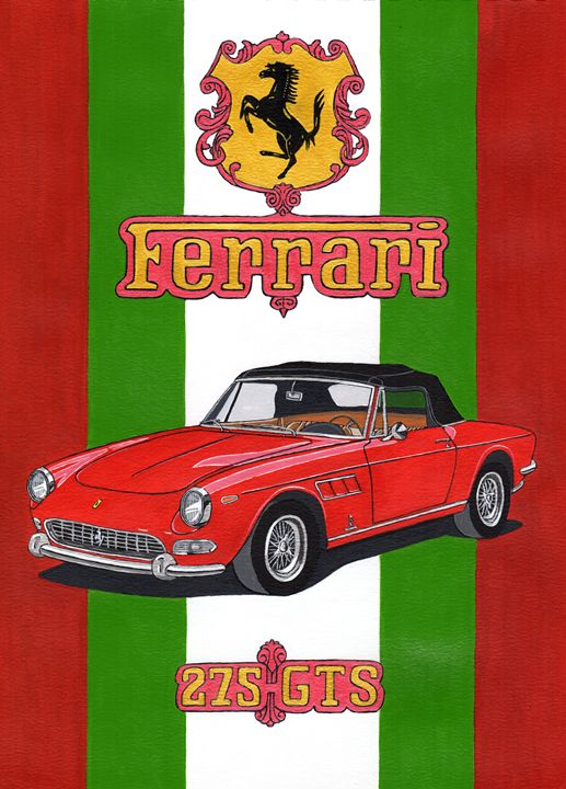 Ferrari 275GTS - Paul's Automobile Art ( Paul Cockram )