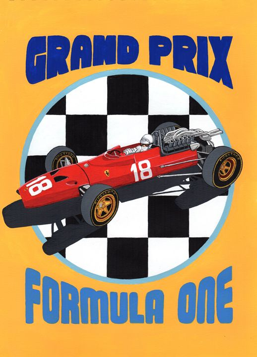 F1 GP Retro Poster - Paul's Automobile Art ( Paul Cockram )
