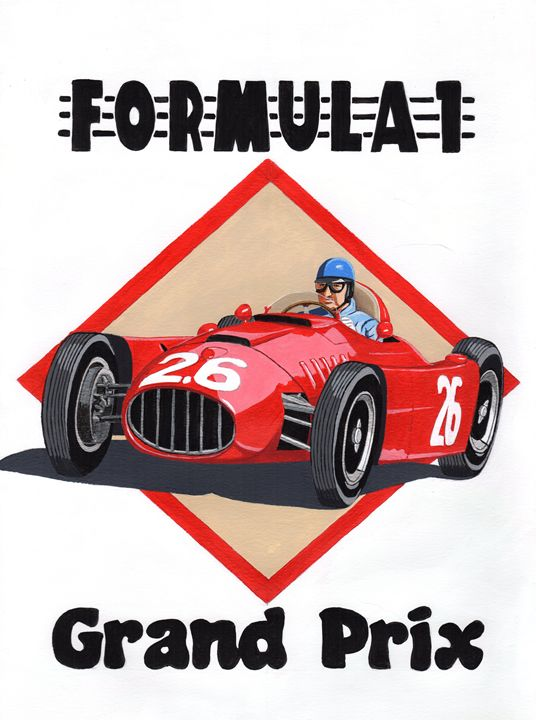Vintage Retro GP Poster - Paul's Automobile Art ( Paul Cockram )