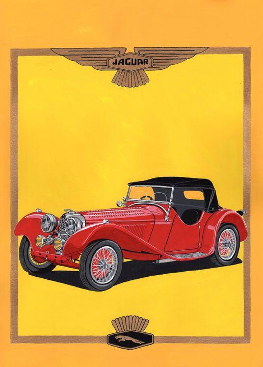 Jaguar SS 100 - Paul's Automobile Art ( Paul Cockram )