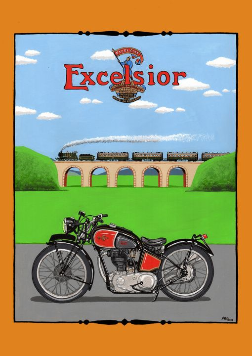 Excelsior Manxman - Paul's Automobile Art ( Paul Cockram )