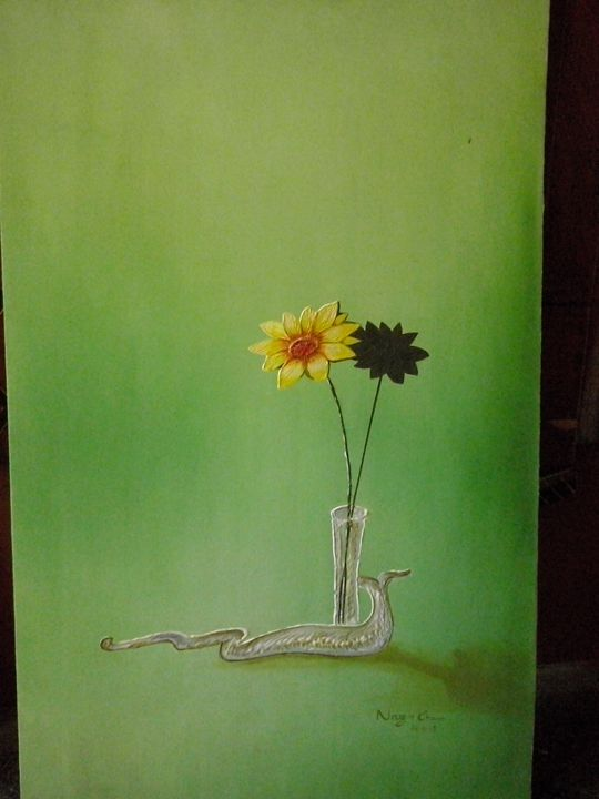 single flower with reflection - oil paintings