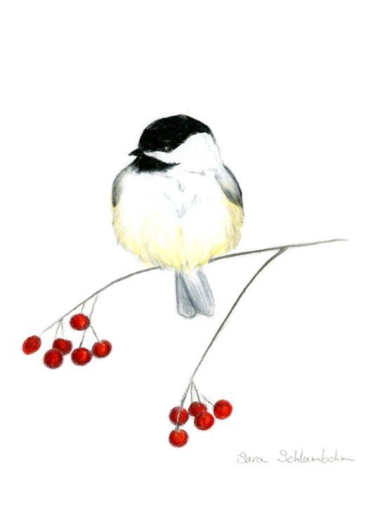 Chickadee With Cranberries - Sara Jeanette Schlumbohm