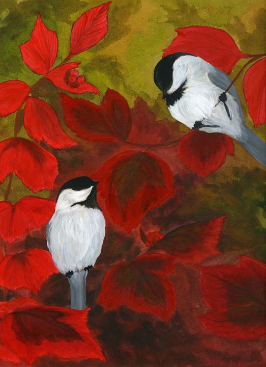Chickadees in the Brush - Sara Jeanette Schlumbohm