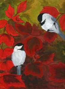 Chickadees in the Brush - Sara Jeanette Schlumbohm