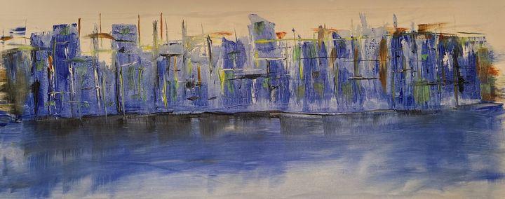 City Scape - Blue Horizon - Ellen Nicholls WA Artist
