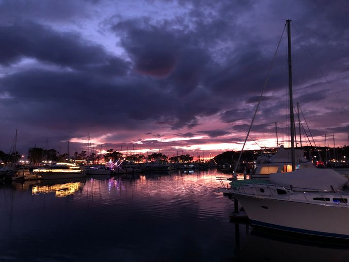 Dana Point Boats & Lavender Sky - Jill Michaels Photography