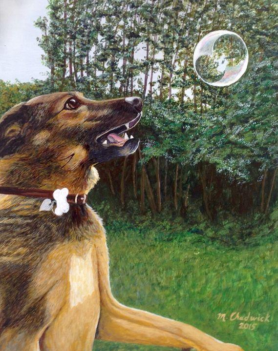 Dog and Bubble - Monica Chadwick Fine Art
