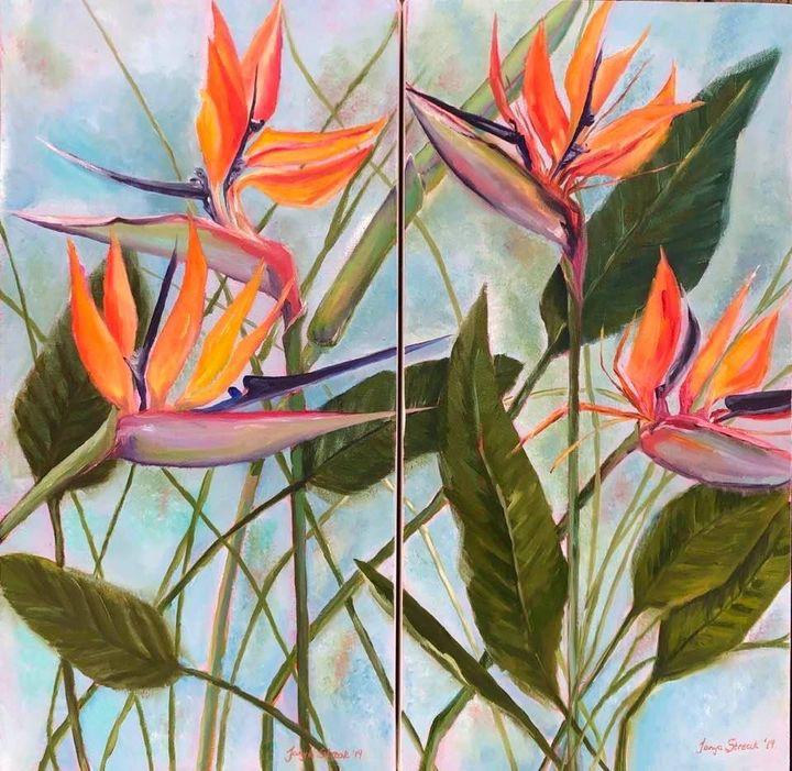 Strelitzia Dyptich - Tanya Streak Art