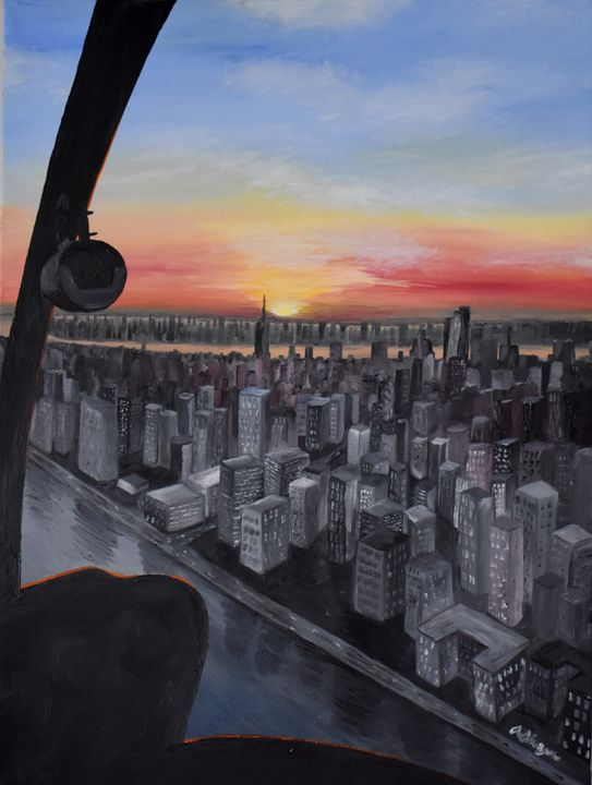 R44 Helicopter NYC Sunset - Singer Fine Arts
