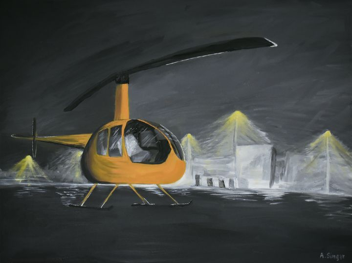 R44 Helicopter at Logan Airport - Singer Fine Arts