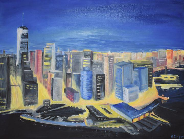 City Lights at Night - Singer Fine Arts